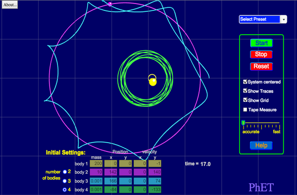 Screenshot of the simulation My Solar System